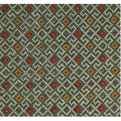 Viscose  Yellow & Red Exclusive design Embroidery Fabric