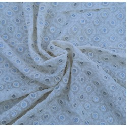 Viscose White Fancy Design Embroidery Fabric