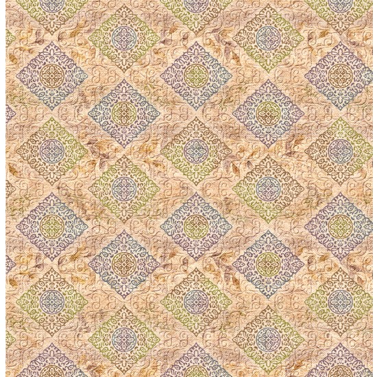 Olive Green, Green and Violet Abstract Design & Digital Print Fabric