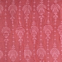 Carrot Red Viscose Exclusive Embroidery Fabric