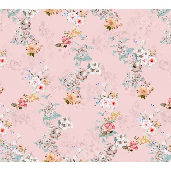 Peach and Golden & Bisque Floral Pattern Digital Print Fabric