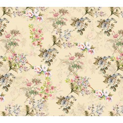 Cream and Olive Green Ditsy Floral Pattern & Digital Print Fabric