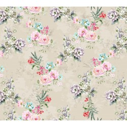 Beigh, Pink and Lavender Floral Design & Digital Print Fabric