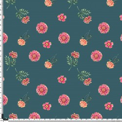 Blue Green and Cerise Sprig Floral Pattern & Digital Print Fabric