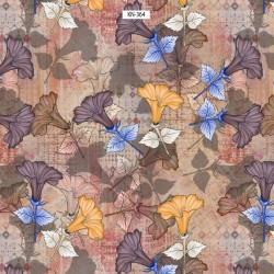 Pastel Green, Yellow and Orient Red Floral Design & Digital Print Fabric