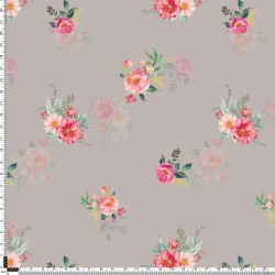 Beigh Grey and Pink Floral Pattern & Digital Print Fabric