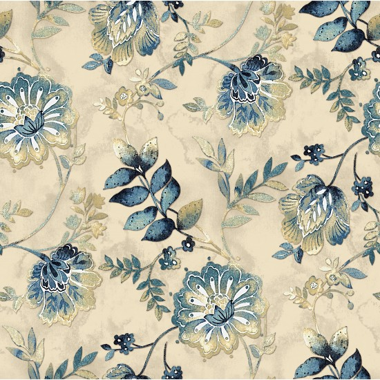 Bisque and Navy Blue Retro Floral & Digital Print Fabric