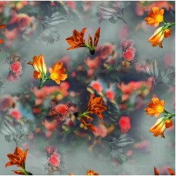 Grey, Orange and Yellow Watercolor effect Floral Pattern & Digital Print Fabric