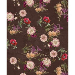 Brown and Multicolour Floral Design & Digital Print Fabric