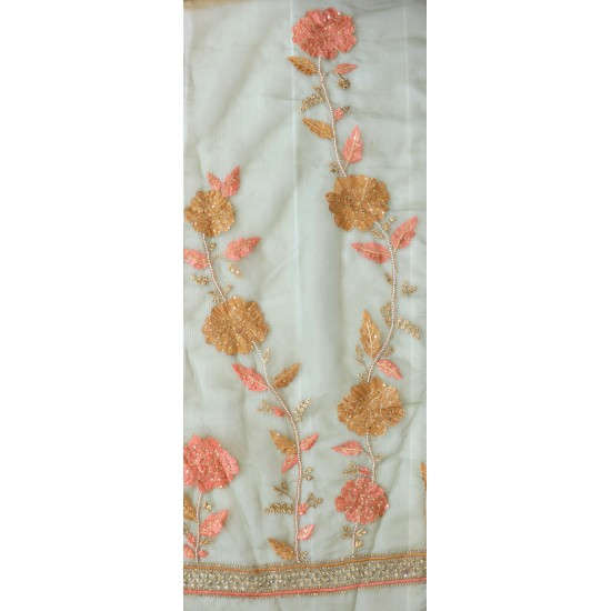Elegant Floral Embroidery & Orgenza Fabric