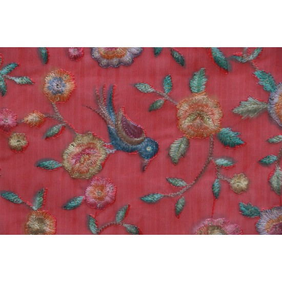 Ditsy Floral Embroidery & Poly Organza Fabric