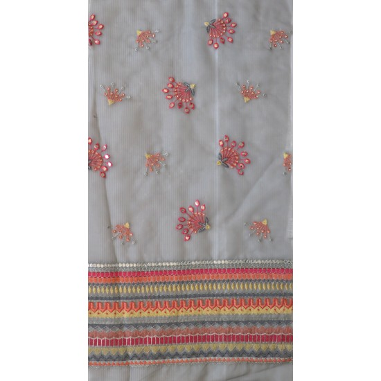 Floral Embroidery with Mirror Work & Orgenza Fabric