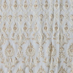 Dyeable  Lucknowi Embroidery with Sequence & Viscose Georgette Fabric