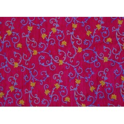 Pacific Pink Blue & Yellow Floral Design Embroidery  Fabric xyz