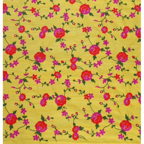 Vatsala  Red & Yellow Floral Design Embroidery Fabric