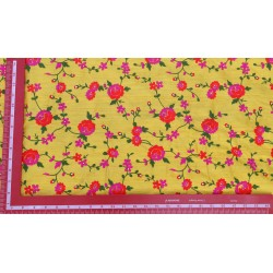 Vatsala  Red & Yellow Floral Design Embroidery Fabric xyz