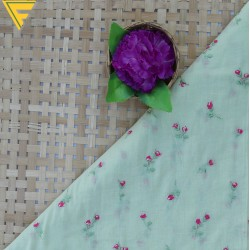 Mal Cotton Light Green & Pink Floral Embroidery Fabric