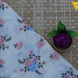 Mal Cotton Light Pink  Floral Design Embroidery Work  Fabric