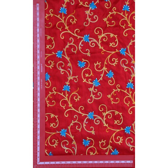 Pacific Red Golden & Light Blue Floral Design Embroidery Fabric