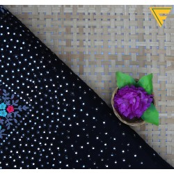 Orgenza Black & Pink Floral Pattern Embroidery Fabric