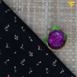 Mal Cotton Black & Red Floral Embroidery  Fabric