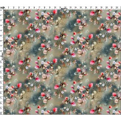 Grey and Tan Watercolor Effect Ditsy Floral Pattern & Digital Print Fabric