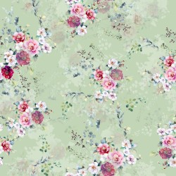 Pale Green and Crimson Cilico Floral Pattern & Digital Print Fabric