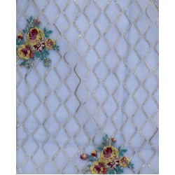 Butter Net White & Golden Zigzag  & Red & Light Green Floral Design Fabric