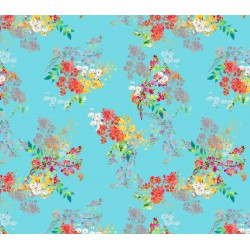 Cyan, Yellow and Orange Floral Pattern & Digital Print Fabric