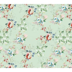 Pale Green and Brown Calico Pattern & Digital Print Fabric