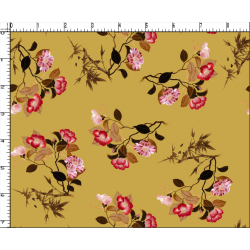 Ocher and Red Floral Design & Digital Print Fabric