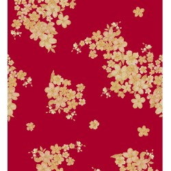 Red and Golden Vector Floral Design & Digital Print Fabric