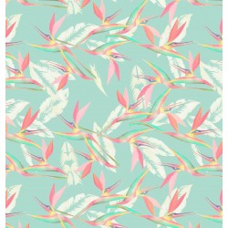 Turkish Green, Pink and Cream Entangle Feather Pattern & Digital Print Fabric