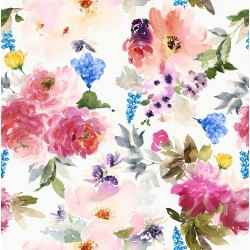 Old Rose Pink, Peach and Blue Floral Design & Digital Print Fabric