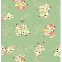 Light Green, yellow and Pink Floral Design & Digital Print Fabic