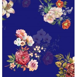 Night Blue and Cream Floral Design & Digital Print Fabric