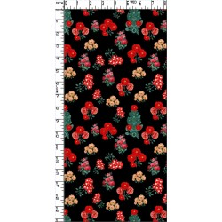 Black and Red Floral Design & Digital Print Fabric