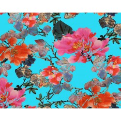 Light Blue and Pink Floral Design & Digital Print Fabric