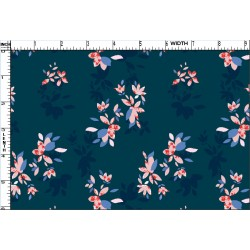 Prussian Blue and Pink Floral Deign & Digital Print Fabric