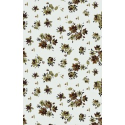 Pale Grey and Olive Green Calico Pattern & Digital Print Fabric
