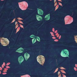 Blue Red  & Green Leaf Pattern & Digital Print Fabric