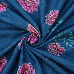 Steel Blue and Rose Pink Floral Design & Digital Print Fabric