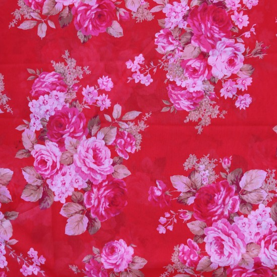 Red and Pink Floral Design & Digital Print Fabric