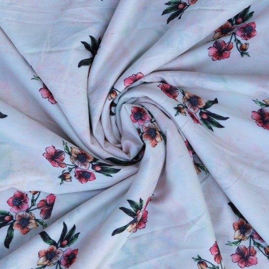 White Pink and Orange Sprig Floral Design & Digital Print Fabric