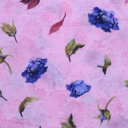 Light Pink and Dark Blue Floral Design & Digital Print Fabric