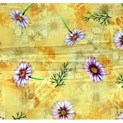 Golden, Purple & Green Floral Design & Digital Print Fabric