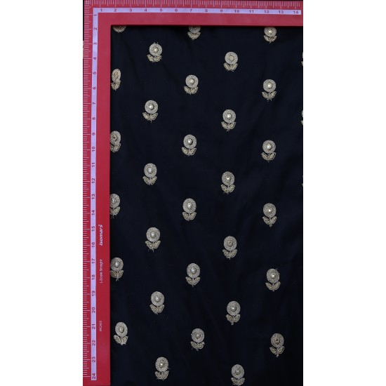 Razi Silk Black & Golden Floral Design  Embroidery  Fabric