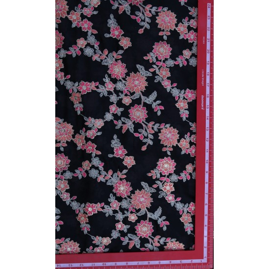 Polly Chinnon Black & Light Pink Floral Embroidery  Fabric
