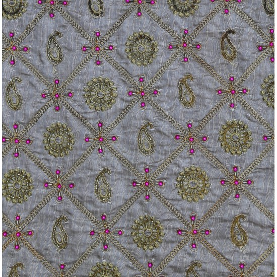 Golden &  Grey Banarasi Silk Hand Work Embroidery  Fabric