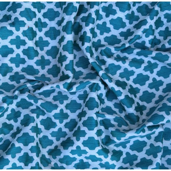 Phantom Light Blue & White Quaterfoil Pattern Exclusive Embroidery  Fabric